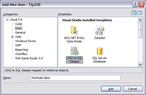 Picture 1 - Create a new LINQ to SQL file